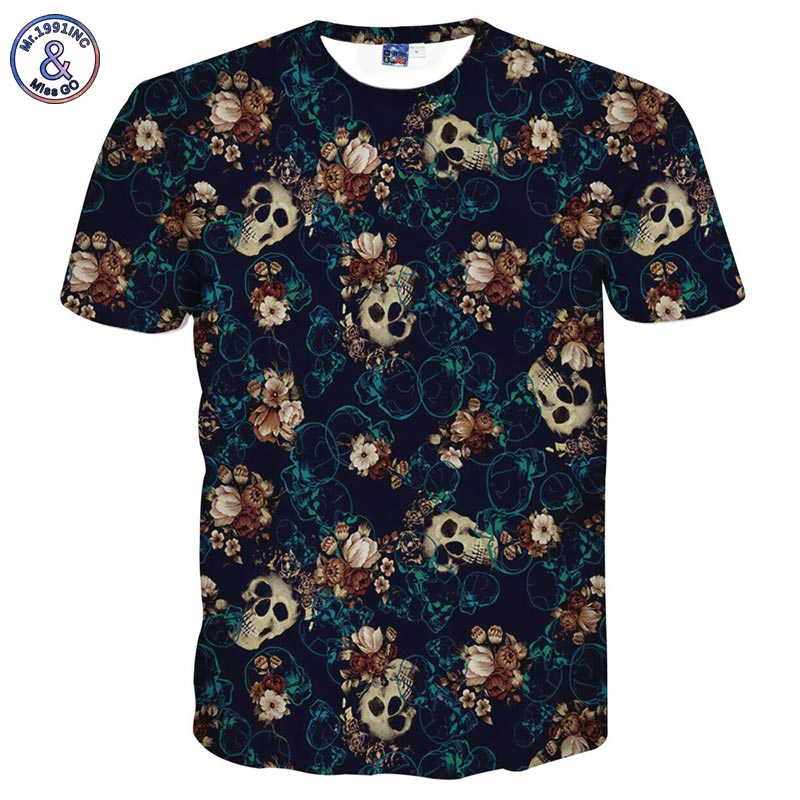 Mr.1991INC Skulls Fashion   T  -  shirt   men's 3d Tshirt Short sleeve   shirt   funny print many skull flowers Plus 3XL 4XL LT6