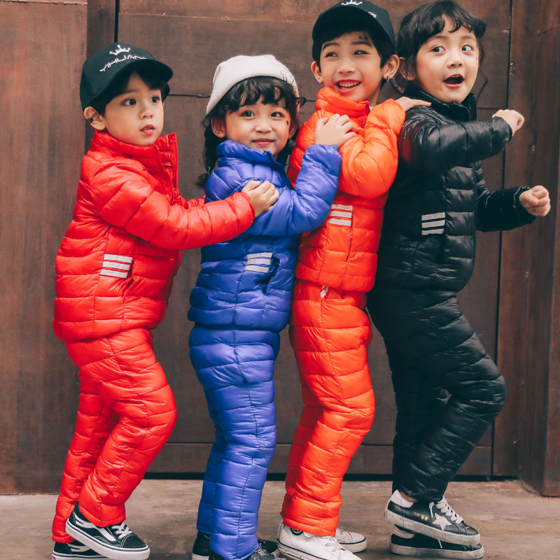 2017 children's winter overalls  jackets  + pants kids ski suit sets  Duck down parka for boys clothing child girls coats 2016 china factory russia winter parka padding jackets trousers overcoat clothing sets for boys ski suit reima baby snowsuit