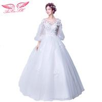 Germoya Princess Lamp Sleeve Fairy European Classical Wedding Dress Princess Bride Flower Wedding Dress 9052