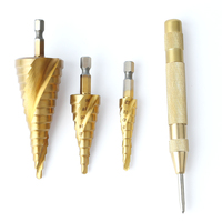 3pcs Hex HSS Step Cone Titanium Drill Bits Hole Cutter Automatic Center Punch Set Cone Drill