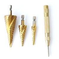 3pcs Hex HSS Step Cone Titanium Drill Bits Hole Cutter Automatic Center Punch Set Cone Drill