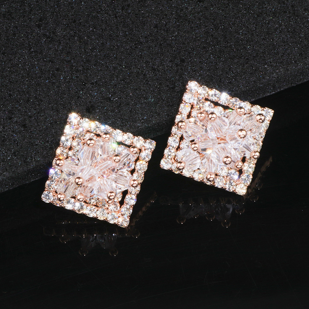 Elegant Hollow Shiny Full Crystal Square Stud Earrings for Women Charm Rose Gold Color Flower Earrings Brinco Gift