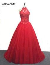 2019 Real vestido de Baile Halter Neck Vestidos Quinceanera 16 Appliquyes com Frisado Doce Vestido Vestido de 15 anos