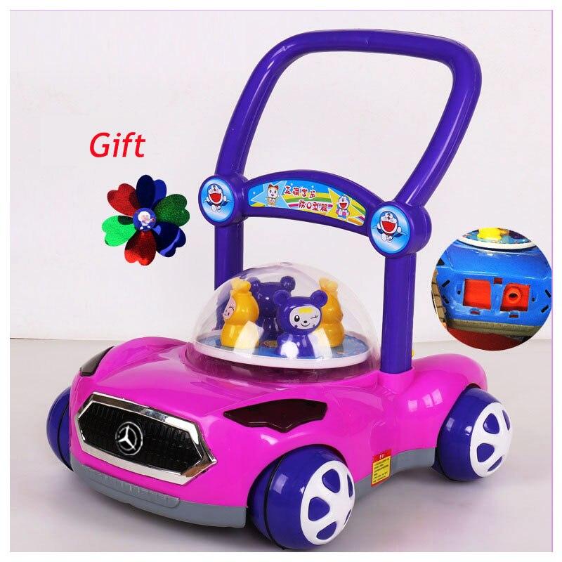 Poussoir à main jouet enfant en bas âge électrique réglable vitesse apprentissage marcheur chariot bébé marcheur marche Assistant avec roues Flash musique