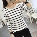 Женская новый полосатый футболка самосовершенствование с длинными рукавами дна рубашки Корейский одежда Топы и Тис