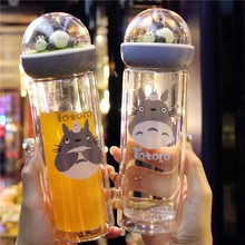 Kwaii Totoro Carring бутылка с двойным слоем Ovenproof стеклянная бутылка с силиконовым уплотнением микроландшафтная посуда для напитков с изоляцией двойная бутылка