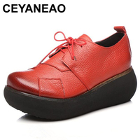 CEYANEAO Spring New Retro Genuine Leather Shoes Platform Wedges Women Shoes Comfortable Breathable Fashion Shoes High Heels 6 Cm