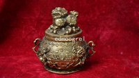 Collectable MIng Dynasty (XUANDE) copper lion jar,Hand carved,best Crafts&Adornment.Free Shipping