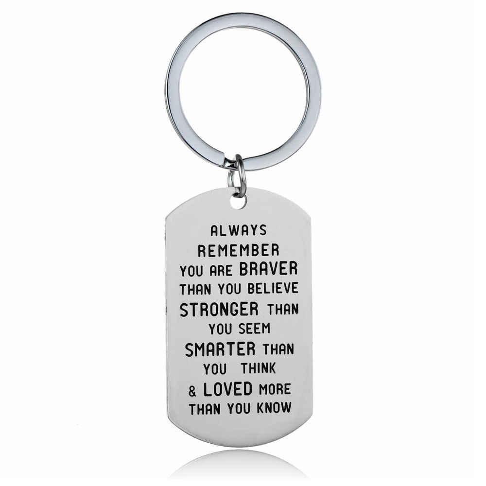 Paslanmaz çelik anahtarlık İlham hediye baba anne kızı oğlu öğretmen köpek etiketi anahtar zincirleri aile en iyi arkadaşlar anahtarlık