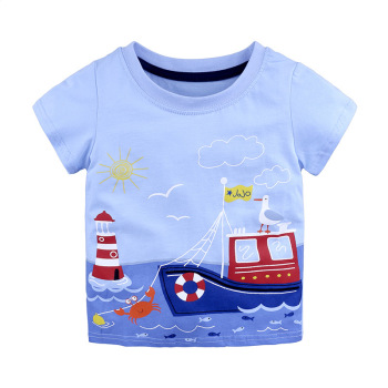 1-6Y Casual Fashion Summer Toddler Baby Boys Cotton Style Short Sleeve O-Neck Pullover Cartoon Print T-Shirts 1