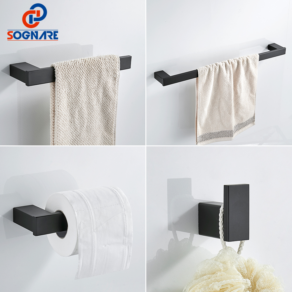 SOGNARE 304 Stainless Steel Bathroom Accessories Set Single Towel Bar,Robe hook,Paper Holder ,4pcs/set Black Bath Hardware Sets nickel brushed 304 stainless steel next bathroom accessories set single towel bar cloth hook paper holder bath hardware sets