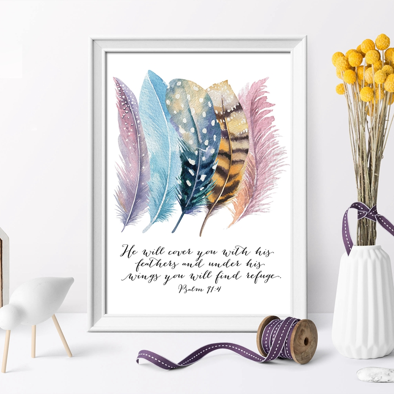 Abstract Quotes Art Home Decor Wall Picture Bible Verse Psalm 91:4 Poster Canvas Print Painting Bird Feather Scripture Christian
