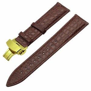 """Image 4 - 18 מ""""מ 20 מ""""מ 22 מ""""מ אמיתי תנין רצועת השעון מהיר שחרור אמיתי עור שעון להקת פלדת פרפר אבזם רצועת יד חגורת צמיד"""