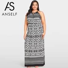 2018 Summer Large Sizes Bohemian Printed Dress Women Maxi Dresses Cut Out  Off Shoulder O-Neck Boho Long Dress Plus Size Robe 5XL 5f310df9acbf