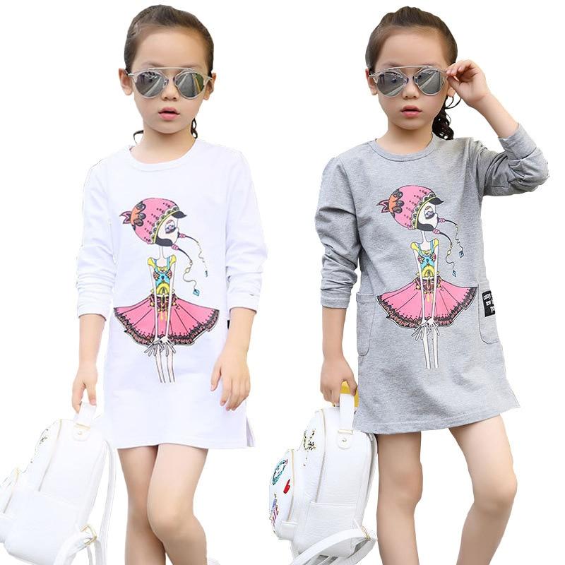 3 4 5 6 7 8 9 10 11 12 ano meninas vestido de algodão manga longa crianças vestidos para meninas primavera outono adolescente crianças camiseta roupas