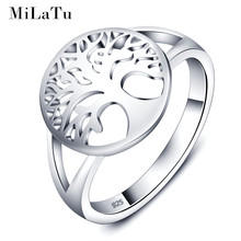 MiLaTu Tree of Life Rings 100% Real 925 Sterling Silver Rings For Women Family Tree Piercing Wedding Ring Christams Gift R006S