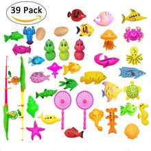 39pcs/lot Magnetic Fishing Toy For Kids Child Model Play Fishing Games Outdoor Funny Toys Set 3D Fish Fishing Rod Baby Bath Toys(China)