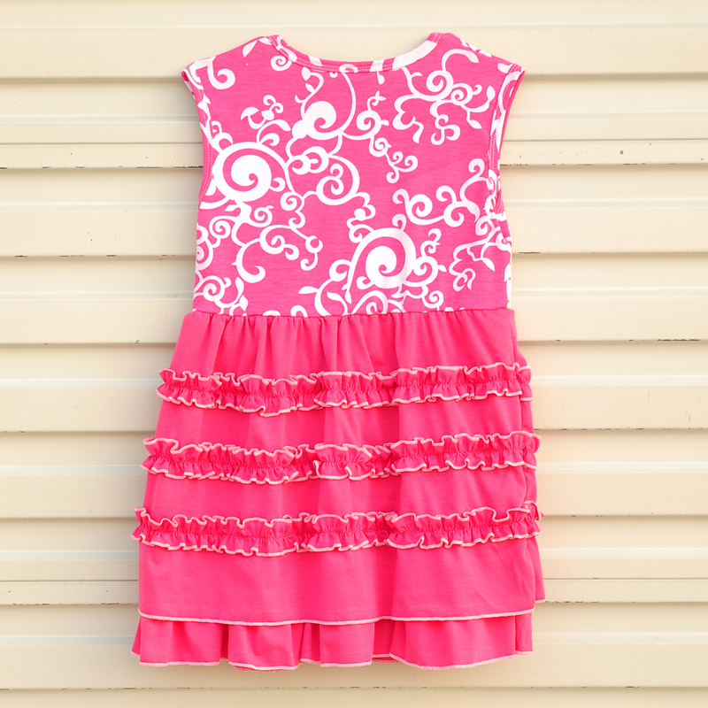 Kid Clothes Girl Flower Decoration Round Neck Sleeveless Blouse And Printing Design Pants Children Clothing S032