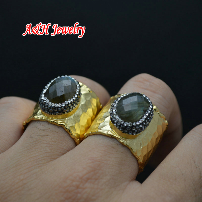 5pcs Natural Labradorite Rhinestone Paved Adjustable Wide Rings Gold Color Plated Men and Women Jewelry Birthday Gift