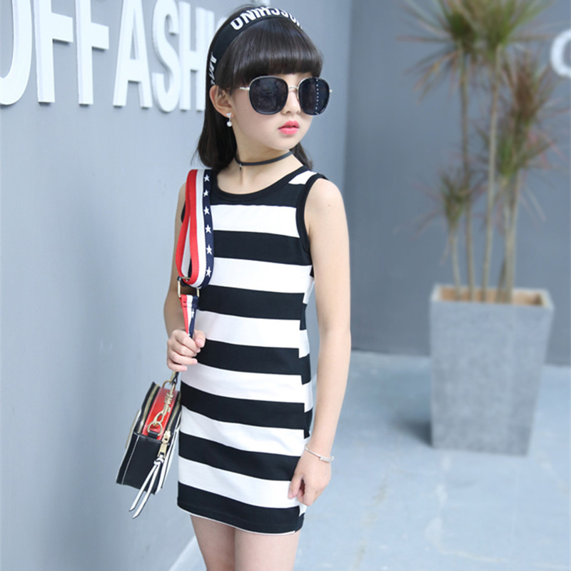 Summer Dress for Girl  3 6 8 10 12 14 years Teen Stripe Sleeveless Slim Stretch  Dress Kids ClothingSummer Dress for Girl  3 6 8 10 12 14 years Teen Stripe Sleeveless Slim Stretch  Dress Kids Clothing