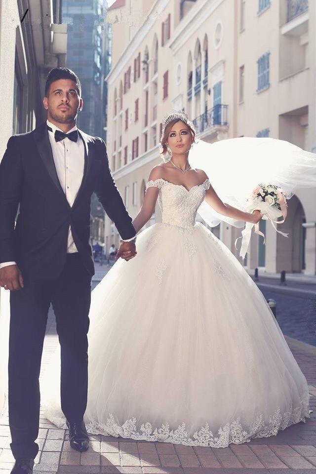 Elegant Lace Appliques Off-Shoulder Ball Gown Custom Saudi Arabic Bridal Gown 2018 Vestido De Noiva Mother Of The Bride Dresses