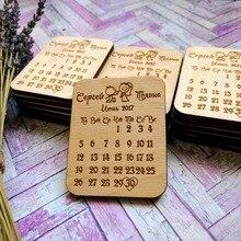 Прекрасный календарь для пар, набор магнитов, персонализированные приглашения, свадебные подарки для гостей, деревянные Свадебные сувениры