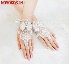 2019 Luxury Short Lace Bride Bridal Gloves Wedding Crystals Accessories for Brides Fingerless Wrist