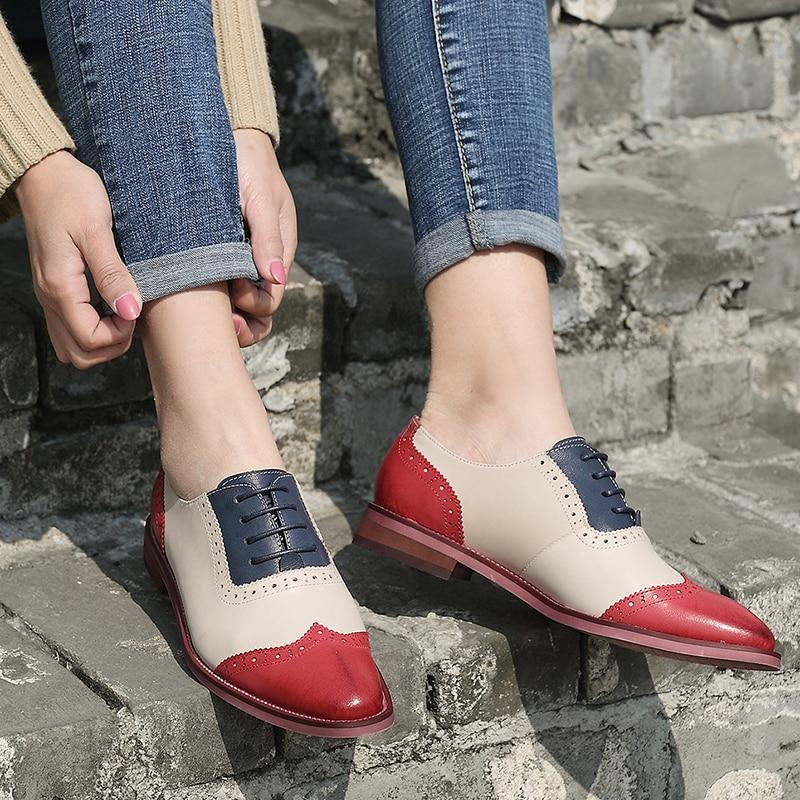 2018 VALLU נשים מבטא אירי נעלי קצה כנף מחורר עד בציר מעורב צבע אמיתי עור נעלי אוקספורד נשים דירות בתוספת גודל