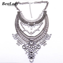 Best lady Maxi Big Brand Vintage Big Metal Accessories Statement Bead Alloy Necklaces & Pendants Collar Choker Necklace B3316