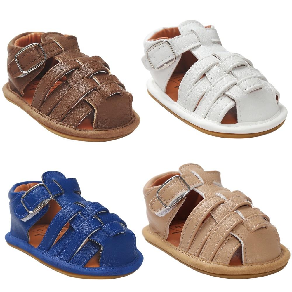 Kūdikių sandalai Vasaros PU odos gėlių dizainas Naujagimio mergaitė berniukas sandalai Vaikiškos lovelės batai Pirmosios vaikštynės daugeliui spalvų pasirinkimui.CX52A