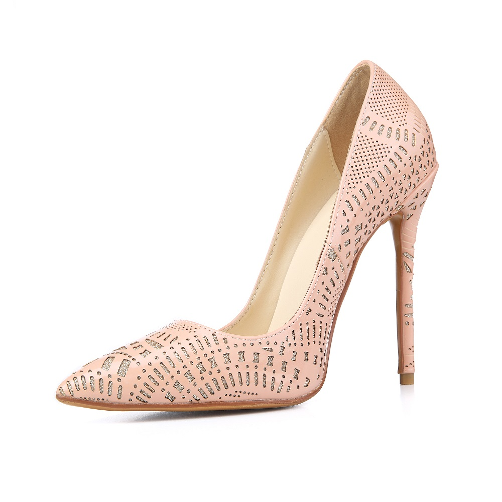 ФОТО Christmas Gift Women Cut-outs Pumps 12CM High Heels Slip-on Pointed Toe Women Wedding Shoes Drop Shipping