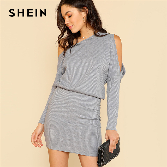 739e3e3c SHEIN Asymmetric Cold Shoulder Rib Knit Blouson Dress Grey Long Sleeve  Women Plain Short Dress 2018 Elegant Party Pencil Dress