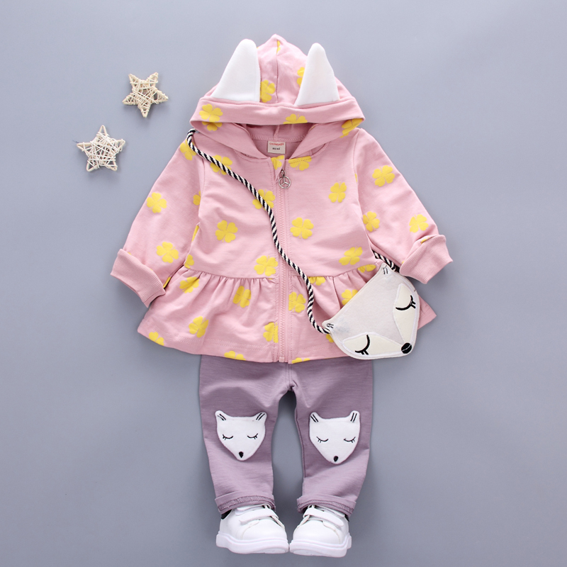 Baby Girl Clothes Toddler Children's Sets 2018 Fashion Flower Print Cute Fox Bag Girls Clothing Girls Clothes Kids Sets zency 2017 new 100
