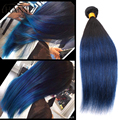 Straight Peruvian dark roots blue human hair 4 bundles remy hair blue ombre weave 2 tone ombre blue bundles HANNE Colorful Hair