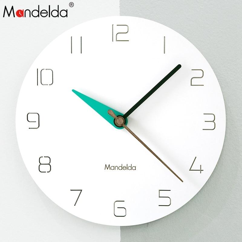 Mandelda DIY Modern Simple Round Quartz Promotional Wall Clock for Home Decoration