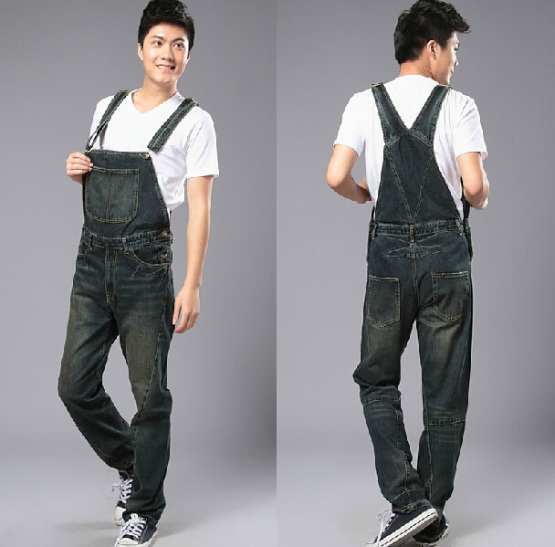 7e588de4e82 Men s plus Large size huge denim bib pants Fashion black jumpsuits plus  size denim jumpsuit