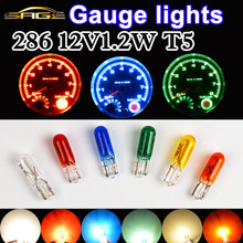 Carro calibre de luz 286 t5 halogênio painel bulbo 12v1.2w w1.2w claro vermelho azul amarelo vidro instrumento lâmpada luzes do carro-estilo (10 pçs)
