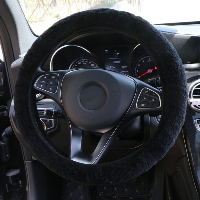 Winter Australian SheepSkin Wool Steering Wheel Cover/Cahsmere handlebar braid on the steering wheel with Anti skid base fabric