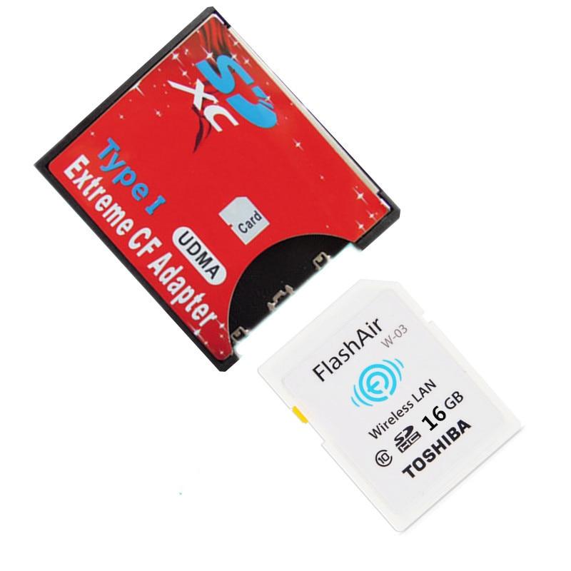 100% Original Toshiba Flash Air 16 GB 32 GB wifi carte SD classe 10 carte mémoire sans fil + carte SD à CF carte Type I adaptateur Wifi