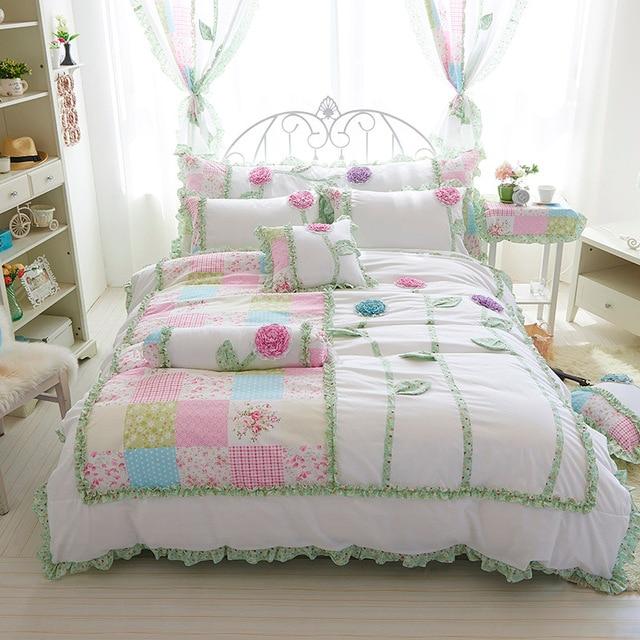 c4dd2a5bab 4 3 pcs 100% flores de algodão 3d conjunto de Cama coreano cor branca
