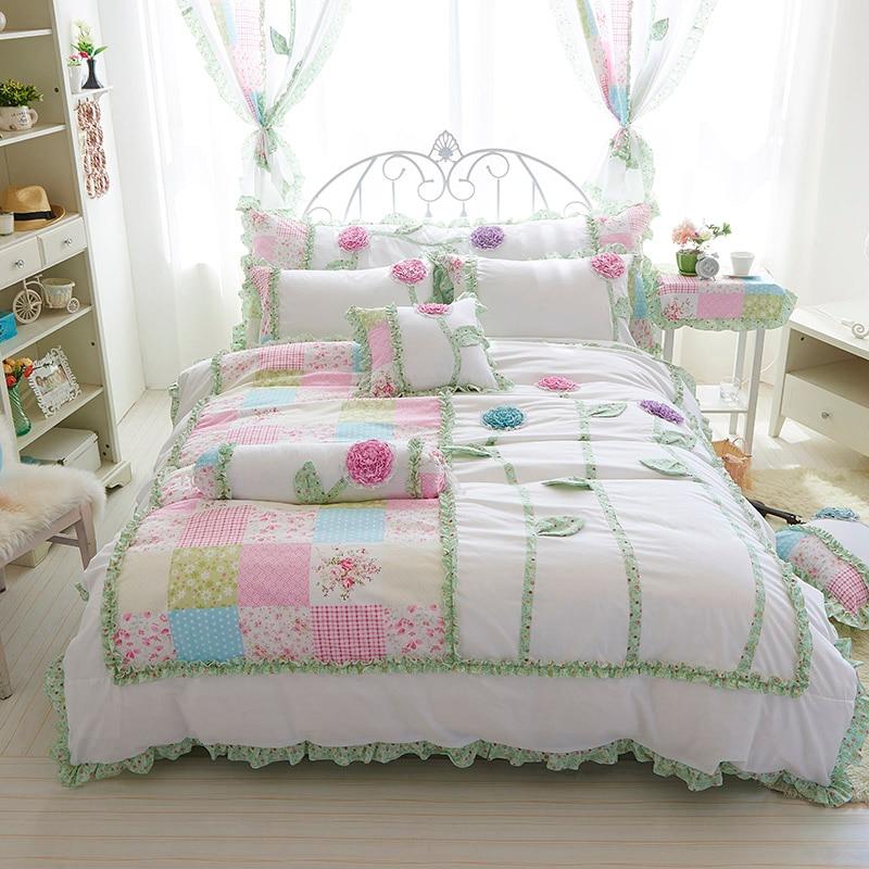 4/3 sztuk 100% bawełna kwiaty 3d koreański pościel zestaw biały kolor król królowa twin rozmiar dziewczyny pojedyncze komplet pościeli łóżko zestaw arkuszy w Zestawy pościeli od Dom i ogród na  Grupa 1