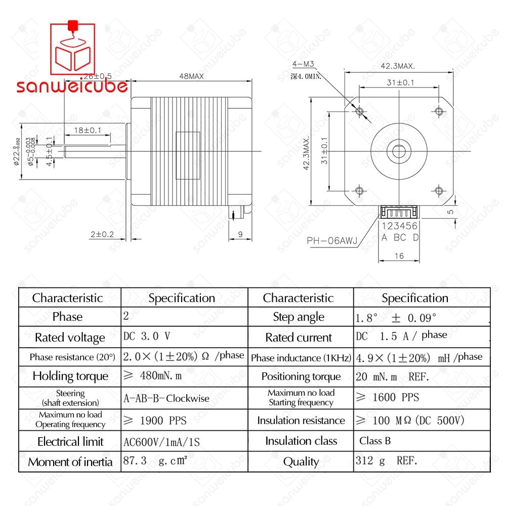 Superb Usongshine 5Pcs Lot 4 Lead 17Hs8401 Motor Nema17 Stepper Motor With Wiring Cloud Oideiuggs Outletorg
