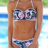 VWIWV 2017 New Floral Bikini Halter Neck Bikini Split Swimsuit Push Up Swimwear Bikinis Women Swimming