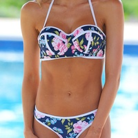 VWIWV 2017 New Floral Bikini Halter Neck Bikini Split Swimsuit Push Up Swimwear Bikinis Women Swimming