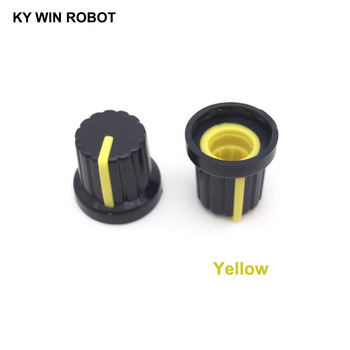 10PCS /lot Yellow Volume Control Rotary Knobs For 6mm Dia Knurled Shaft Potentiometer Durable 10pcs colorful rotary volume crystal control vintage plastic knob 32x14mm for 6 35mm shaft