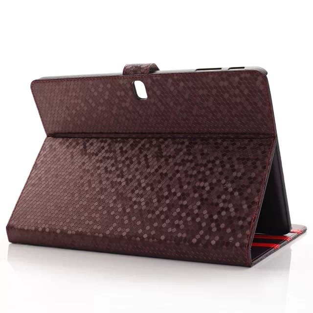 Fashion Diamond Grain Stand PU Leather Holder Cover Sleeve Protective Case For Samsung Galaxy Note 10.1 2014 P600 P601Tablet