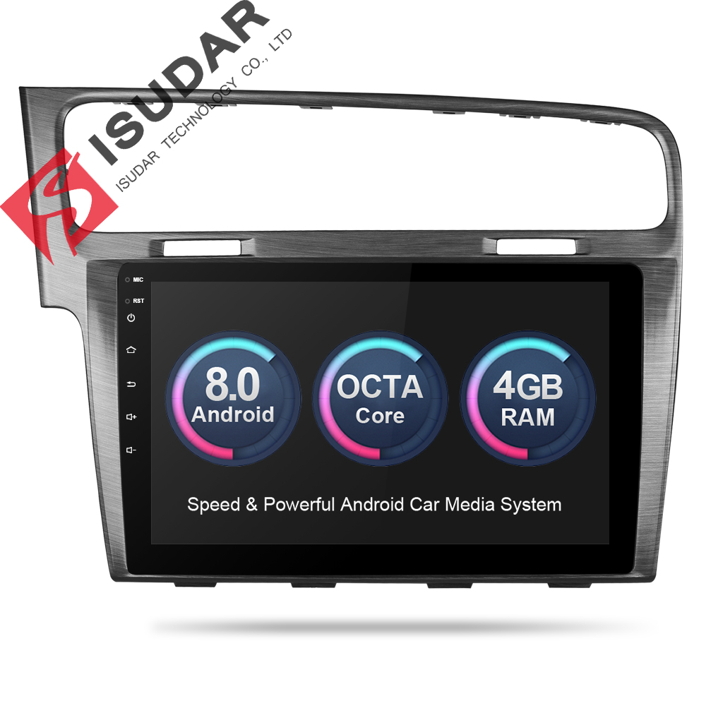 Isudar Voiture Multimédia Lecteur 1 Din Autoradio GPS Android 8.0 Pour VW/Volkswagen/Golf 7 Canbus 4 GO de RAM 16 GB ROM Quad Cores FM