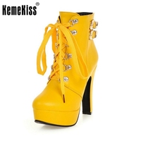 Autumn Winter Women Round Toe Ankle Boots High Heels Lace Up Shoes Double Buckle Platform Short