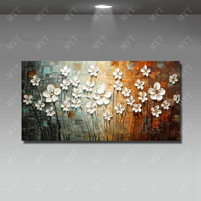 Chinese wall art modern living room wall decor flower painting large canvas art hand painted wall