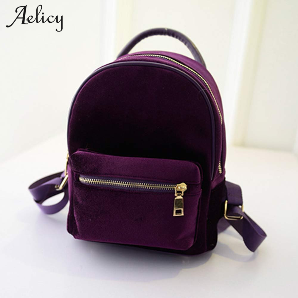 Aelicy Velvet Small Rucksack Backpack 2019 New Design Korean Fashion Backpack Schoolbag Vintage Solid Mini Backpacks For Girls